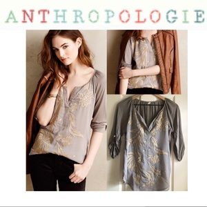 Anthropologie TINY Lore Henley | Embroidered | Lg